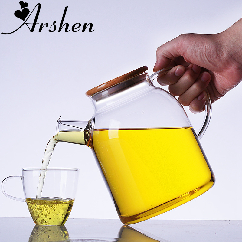 Arshen 1000ml/1800ml Glass Kettle Water Jug Heat Resistant Flower With Bamboo Lid Stainless Steel Filter Juice Container