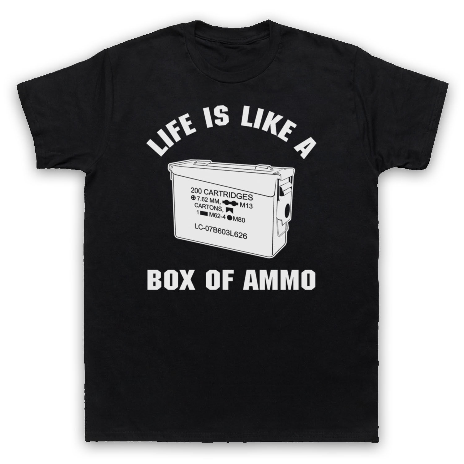 Womens T-Shirt DUKE NUKEM UNOFFICIAL LIFE IS LIKE A BOX AMMO VIDEO GAME T-SHIRT