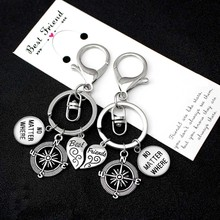 Best Friends Compass No Matter Where Keychains Wings Heart Love Hand Key Chain Lobster Clasp Key Ring Women Men Jewelry Gift 1pc earth airplane keychains no matter where pendant travel keyring friendship best friend jewelry diy handmade