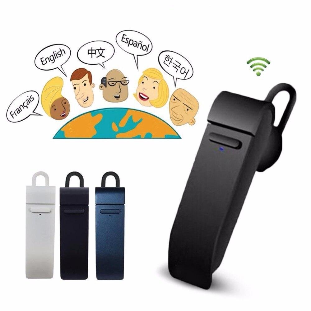 Traductor inalámbrico Bluetooth auricular micrófono 24 idiomas traducir para Iphone X 7 8 Plus Android MIC auriculares Bluetooth