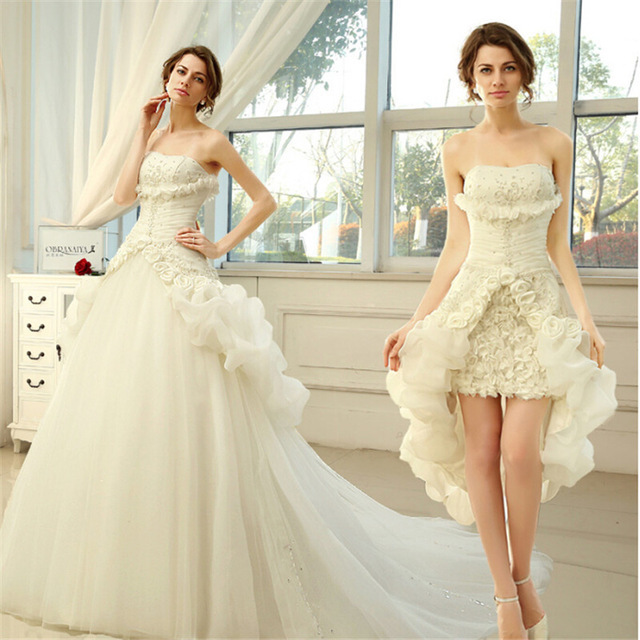 New Elegant A-Line Strapless A Line Wedding Dresses Detachable Train  Wedding Gowns open Back 3ea0edf8a056
