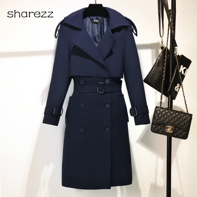 2019 Autumn And Winter New Korean Women Slim Double-breasted Long Trench Coats  Wild English Women's  Coat Navy Blue