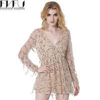 Fashion 2017 Dress Women Elegant Net Yarn Tassel Sequins Dress High Waist Sexy V-neck Casual Summer Mini Dresses Plus Size