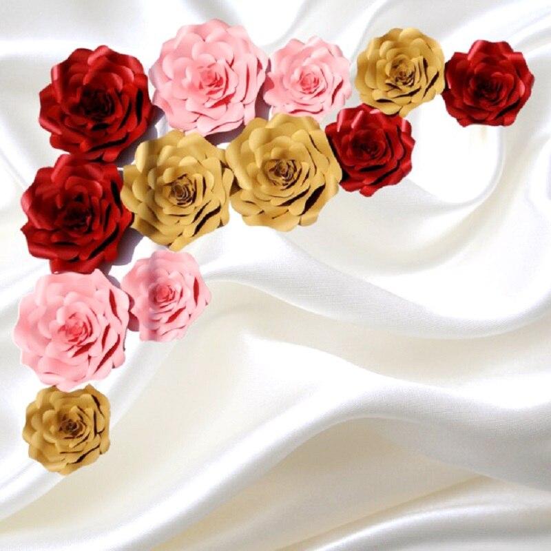 12 unids SET simulación de papel gigante de la flor estéreo hecho a - Para fiestas y celebraciones