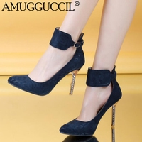 2016 New Arrival Plus Big Size 32 48 Black Blue Red Buckle Fashion Sexy High Heel