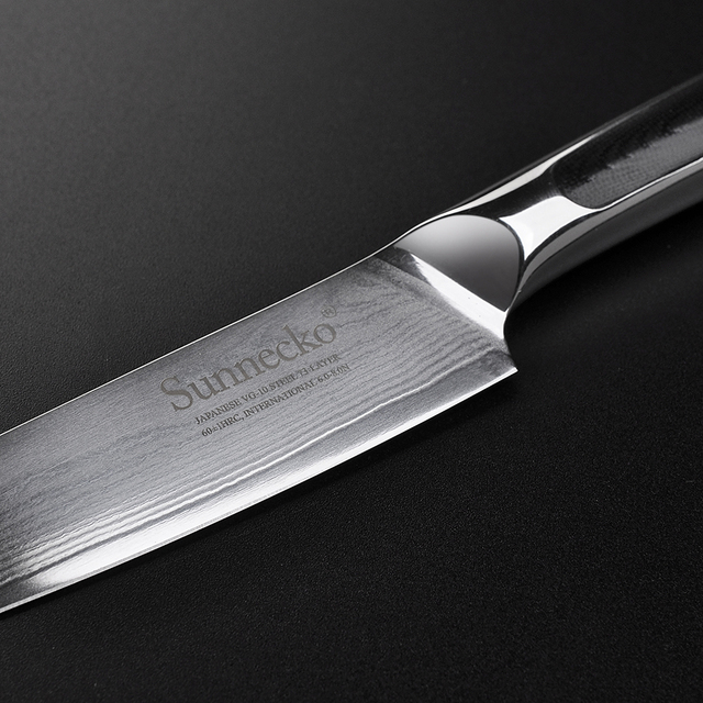 Sunnecko New 5″ inch Utility Knife Japanese VG10 Steel Razor Sharp Blade Damascus Kitchen Chef Knives G10 Exquisite Handle