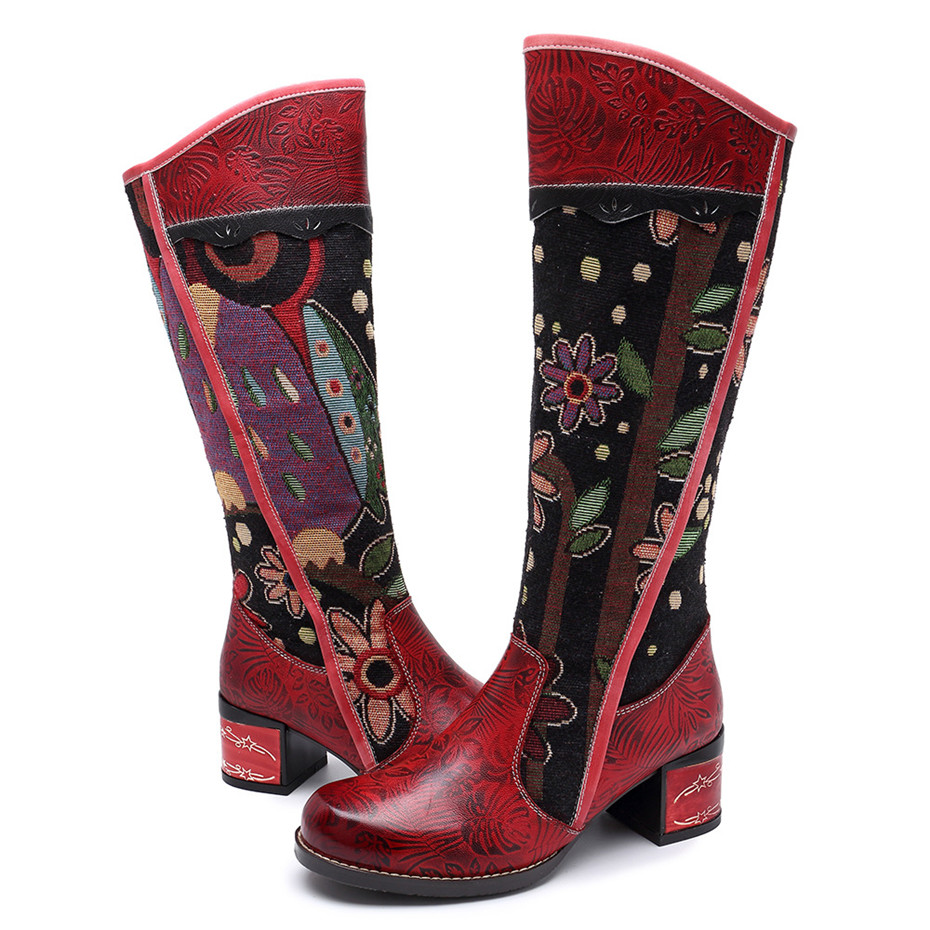 Fashion Patchwork Western Cowboy Boots Women Shoes Bohemian Genuine Leather Shoes Woman Vintage Side Zip Knee High Riding Boots (6)