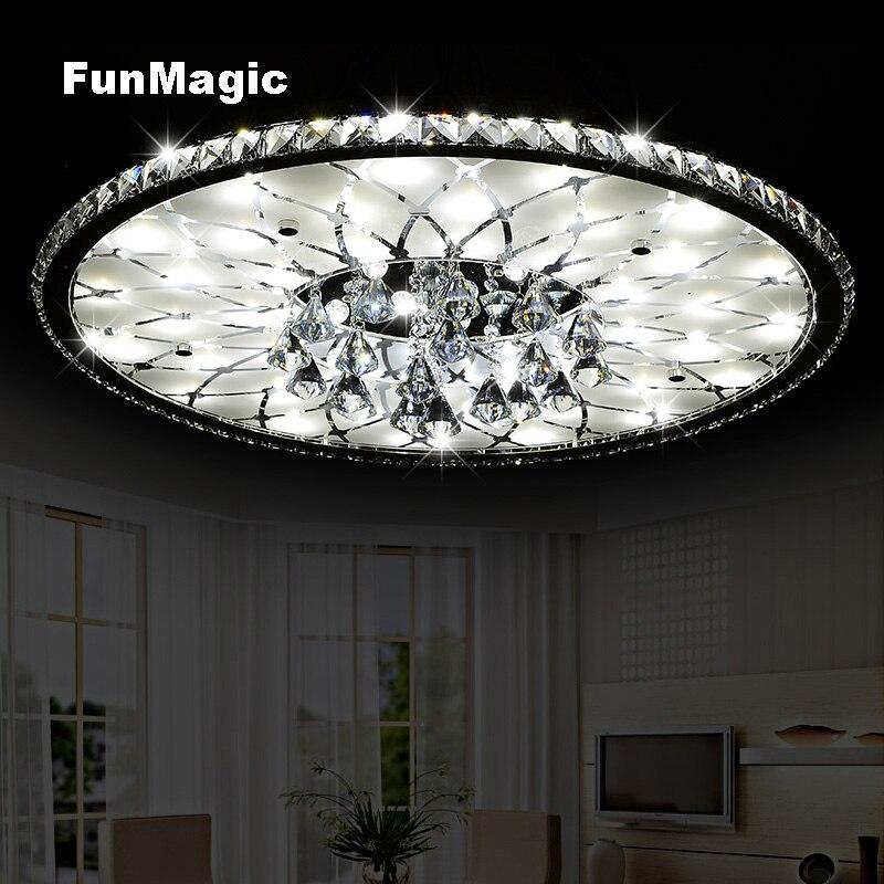 Moderne Ronde Romantique Cristal LED Plafonnier Chambre Éclairage Salon Mobilier Surface Monté Salle À Manger Lampe De Gradation