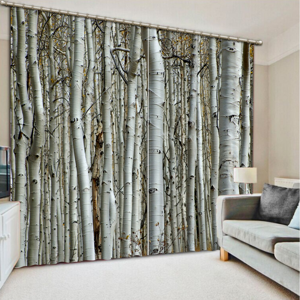 Home decoration forest curtain window room curtains for for European style windows