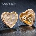 Angel girl fashion lady clássico banhado a ouro de cristal cz jóias coração-forma brincos para mulheres meninas presente e32-60804