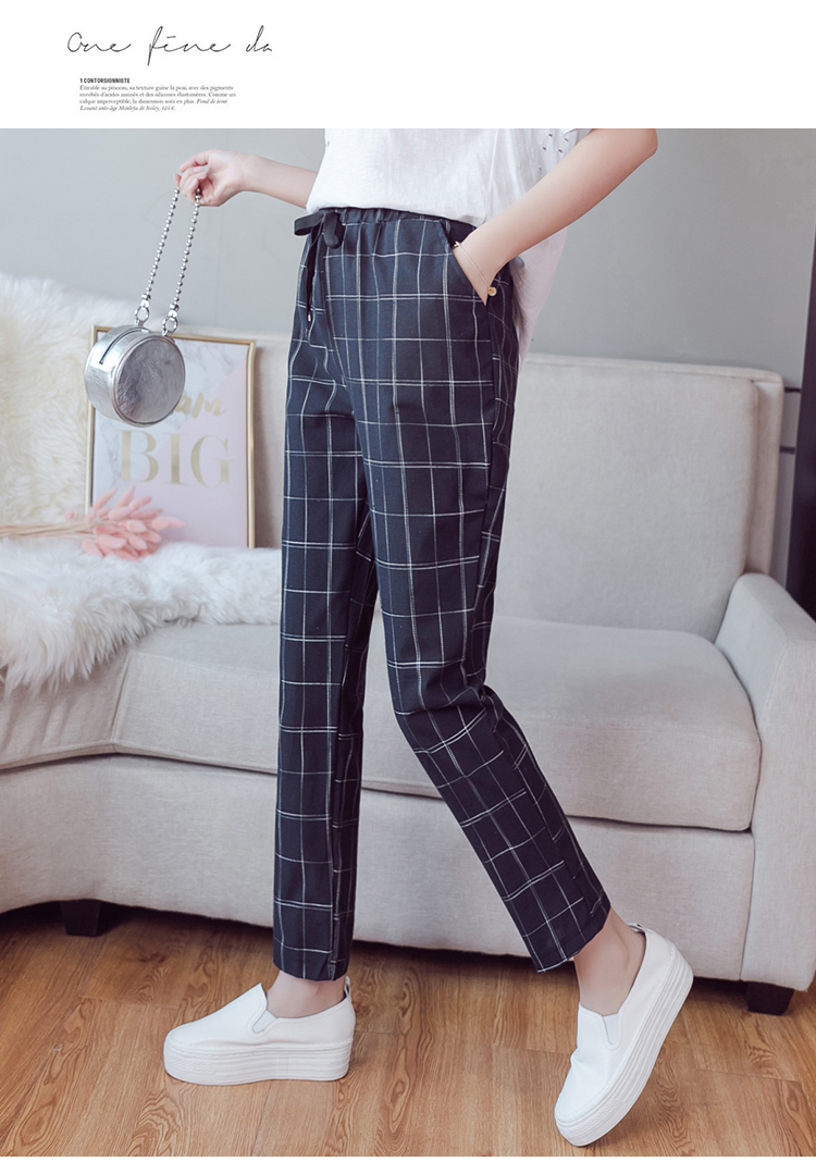 Make English plaid pants female easy to restore ancient ways recreational pants the spring and autumn period and the new female 11