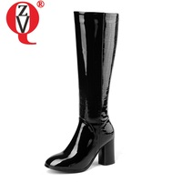 ZVQ high quality brand round toe party dress shoes 2019 concise Keep warm high boots big size 33 45 genuine leather long boots