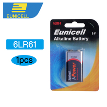 Eunicell 1PCS Dry Battery 9V 6LR61 PPP3 1604A Alkaline Non-rechargeable Batteries for Radio,Camera,Toys etc
