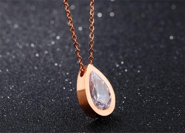 Купить женское ожерелье из нержавеющей стали с кулоном фианита