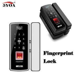 Image 1 - Стеклянный замок со сканером отпечатков пальцев, цифровой электронный дверной замок для дома, Противоугонный Интеллектуальный пароль, RFID карта, автономный смарт Открыватель
