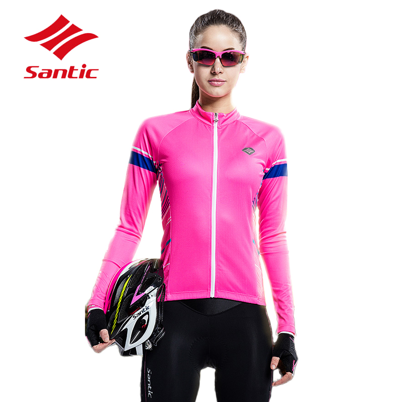 цена на Santic Cycling Jersey Women Bicycle MTB Road Jersey Bike Clothes Quick Dry Breathable Downhill Clothing Maillot Ropa Ciclismo