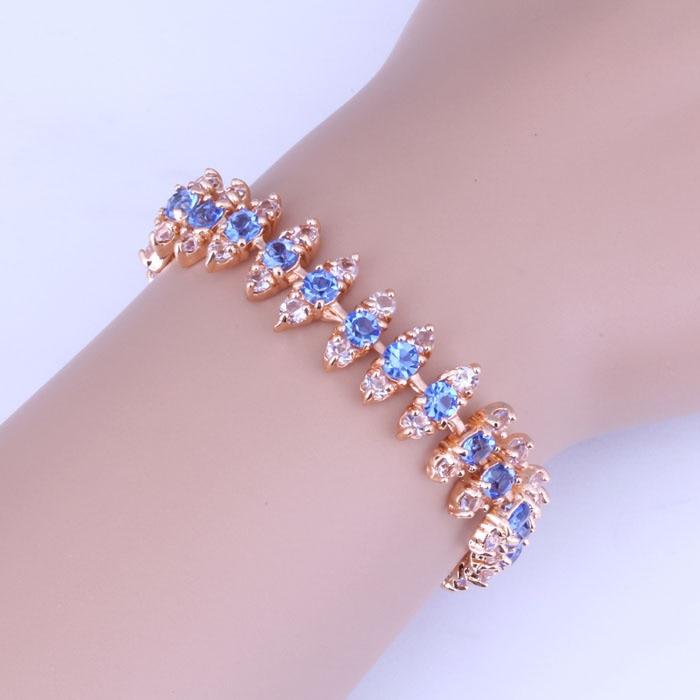 Love Monologue Exclusive Yellow Gold Color Pave Gorgeous Blue Sky Crystal  Charm Bracelet for Women 17.5 CM B0024 a335314db19c