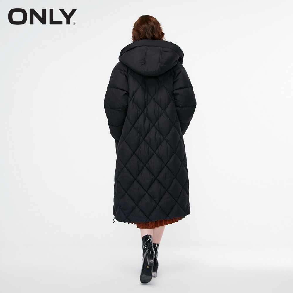 Только Женская длинная пуховая куртка с капюшоном на молнии с буквенным принтом   118312536