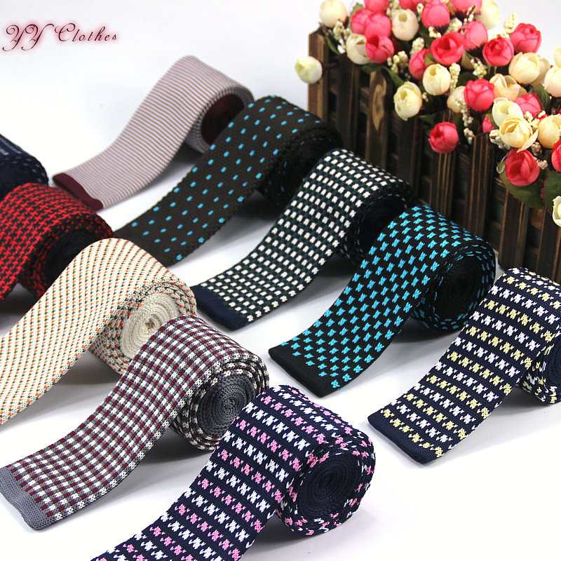 New Hot Fashion Male Brand Slim Designer Knitted Neck Ties Cravate Narrow Skinny Neckties For Men Free Shipping High Quality