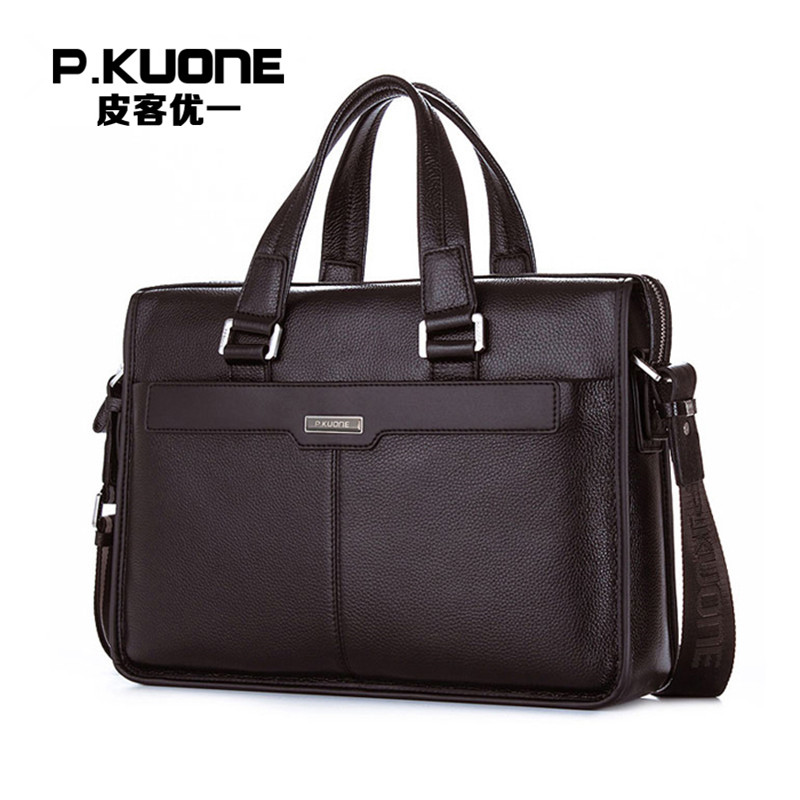 P.KUONE Genuine Leather Man Fashion Briefcase High Quality Business Shoulder Bag Casual Travel Handbag Luxury Brand Laptop Bag old version degen de1103 1 0 ssb pll fm stereo sw mw lw dual conversion digital world band radio receiver de 1103 free shipping