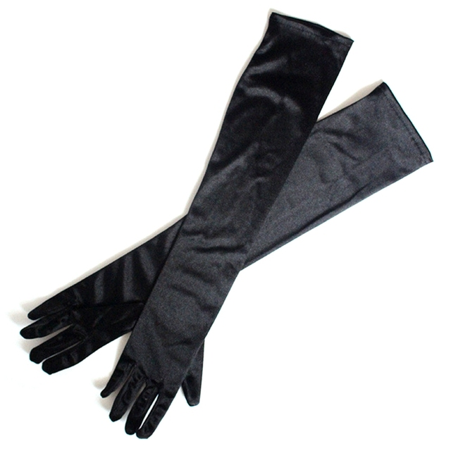 Long Finger Elbow Sun Protection Gloves Opera Evening Party Prom Costume Fashion Gloves Black Red White Grey Women 4