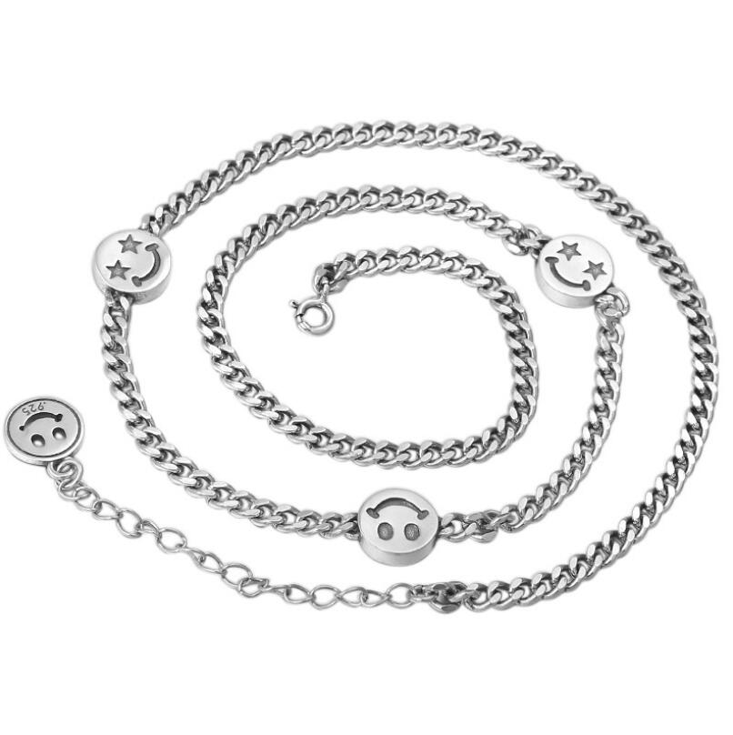 S925 sterling silver jewelry 4.5mm Pentagram smile women necklace chain (FGL)