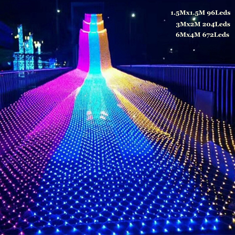 Kingoffer LED Net Light 1.5*1.5M/3*2M 8 kinds of pattern weaving Mesh string lights Christmas Xmax Holiday Garden Curtain light christmas bird pattern waterproof shower curtain