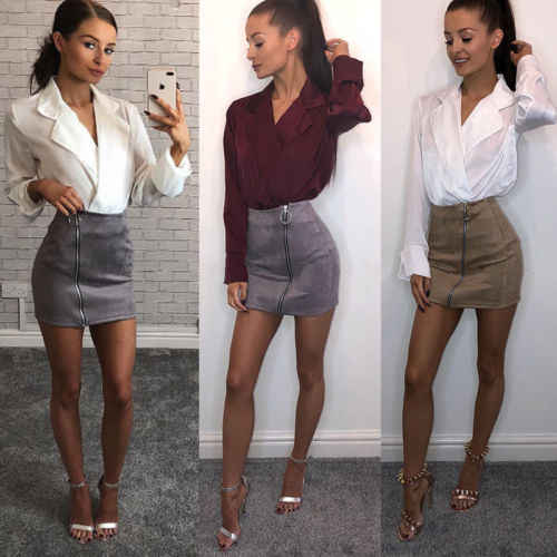 Suede Leather Short Zipper Mini Skirt Club Women Ladies High Waist Pencil Skirt Bodycon