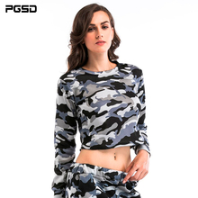 PGSD Spring Autumn Camouflage short Velveted round collar Long sleeves Fashion women clothes Sweatshirts female