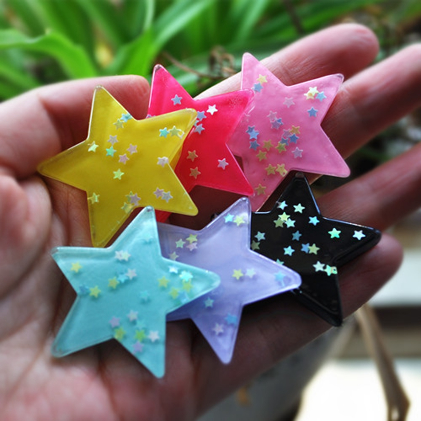 Resin Crafts For Diy Decoration 12pcs Mixed 38mm Very Cute Flat Back  Glitter Colors Resin Star With No Hole