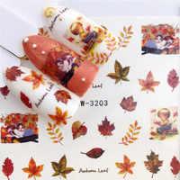 LCJ 1 PC hojas de otoño/flamenco/caballo/Flor transferencia de agua uñas arte pegatina belleza calcomanía uñas arte decoraciones