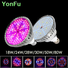 Full Spectrum 18W 24W 28W 30W 50W 80W Led Grow Light E27 E14 GU10 UV IR Growing Lamp for Hydroponics Flowers Plants Vegetables(China)