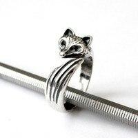 Падение доставка Древний silver fox кольцо ручной работы Ретро животных кольцо в украшения для женщин