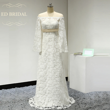 Illusion Neckline Off the Shoulder Long Sleeves Venice Lace Vintage Boho Wedding Dress Bridal Wedding Gown robe de mariee