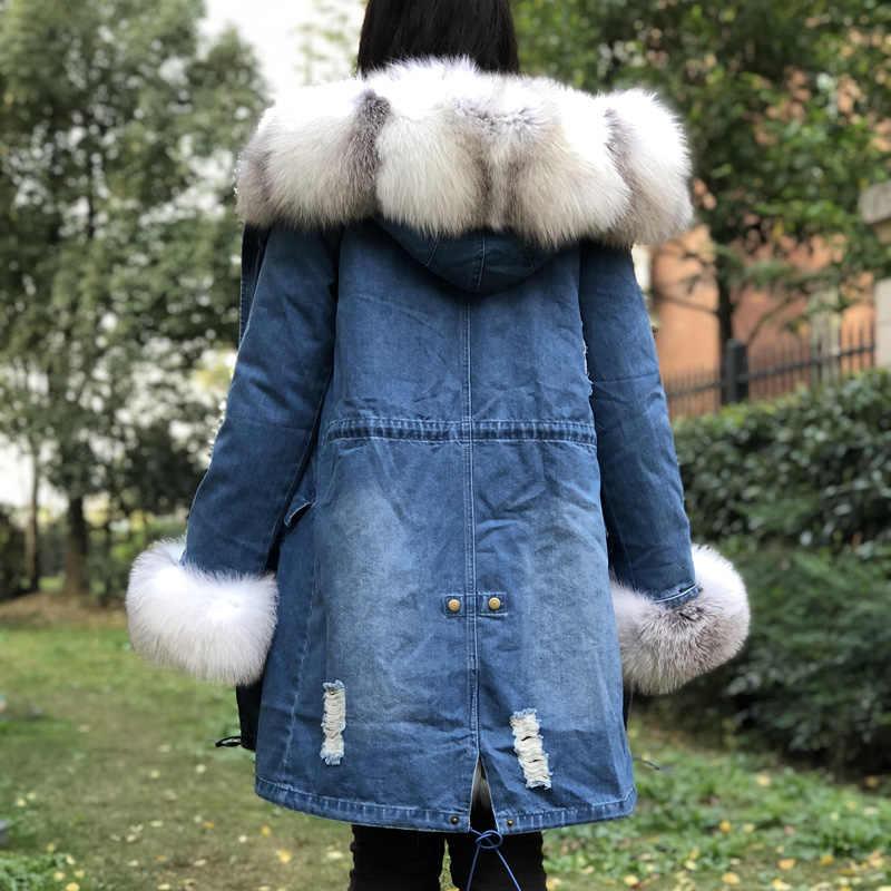 Fandy Lokar כחול כפור שועל פרווה מעילי נשים טבעי שועל פרווה מעיילי אישה ג 'ינס ארוך מעיל נשי אמיתי שועל פרווה אוניית מנותק
