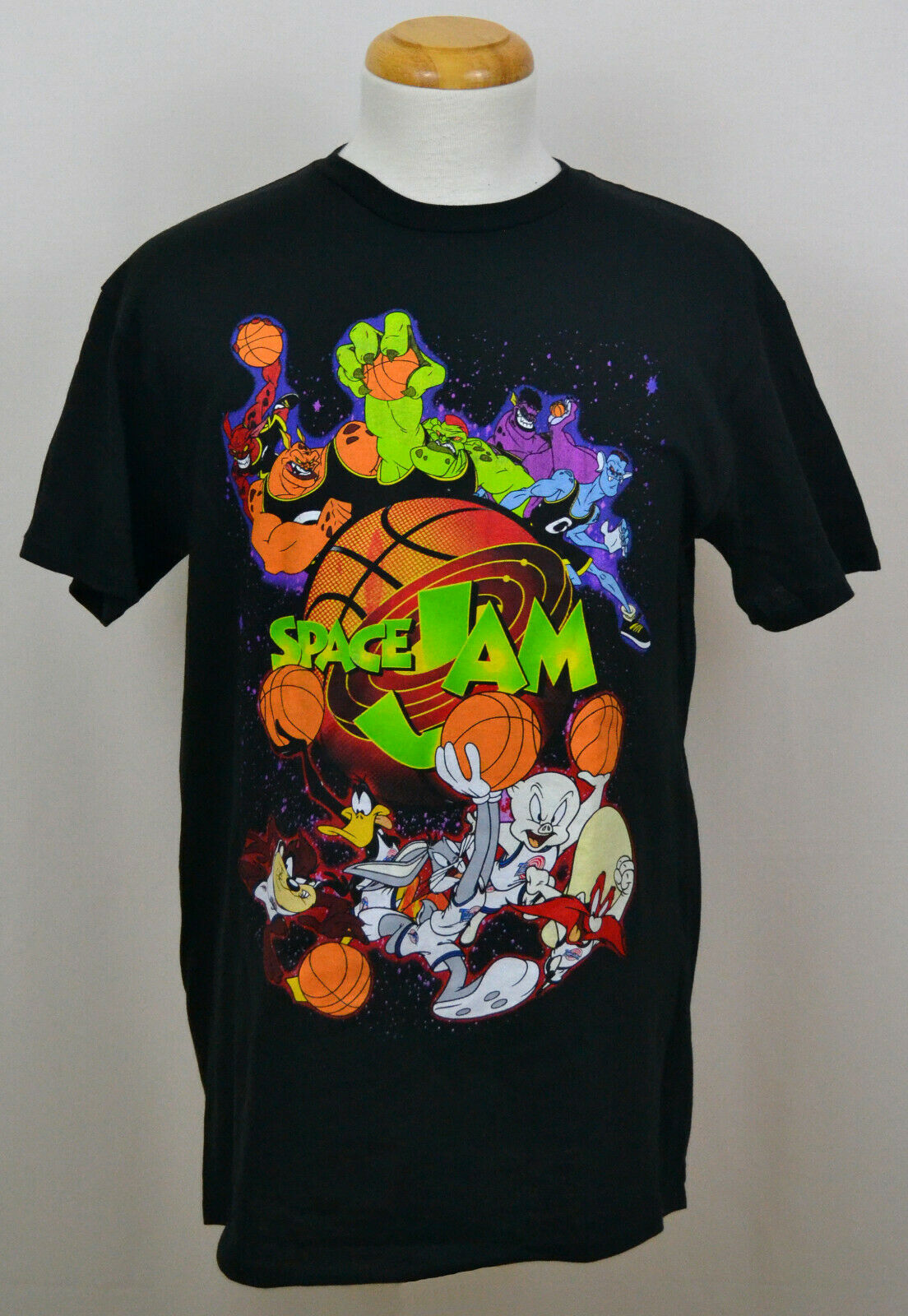 Looney Tunes Space Jam T-shirt Tunes Vs Monstars Graphic Tee Cotton Black NWT