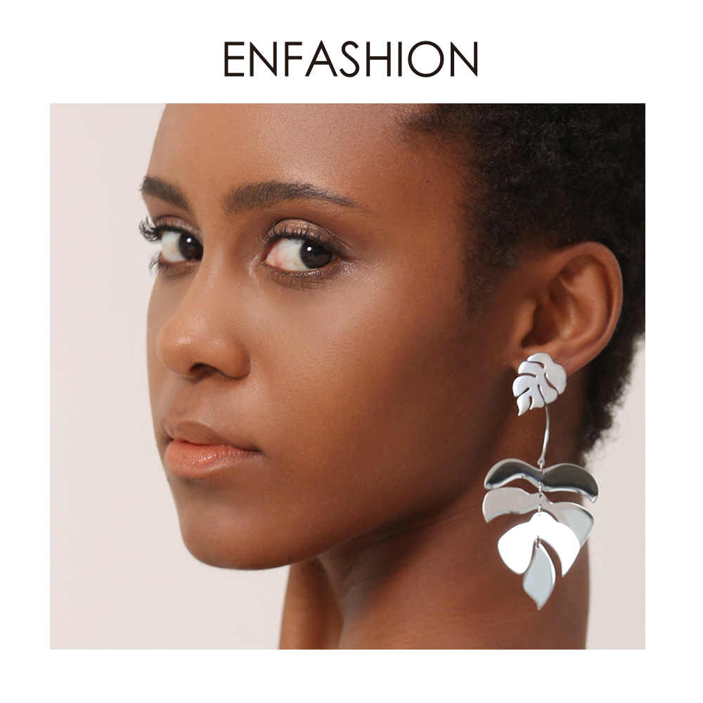 ENFASHION Hollow Monstera Leaf Drop Earrings For Women Bling Bohemian Dangle Earings Fashion Statement Holiday Jewelry EB191061