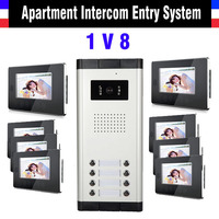 2 4 6 8 10 12 Unit Apartment Intercom Entry System 7 Inch LCD Wired Video