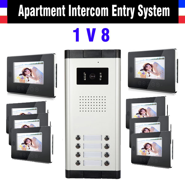 8 units apartment video intercom system 7 inch monitor