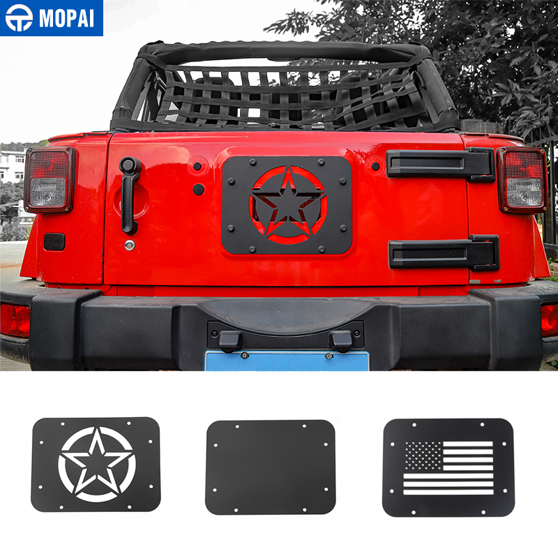 Image 1 - MOPAI Car License Plate Mount Tailgate Air Vent Decoration Cover for Jeep Wrangler JK 2007 2017 Car Accessories Styling-in Chromium Styling from Automobiles & Motorcycles
