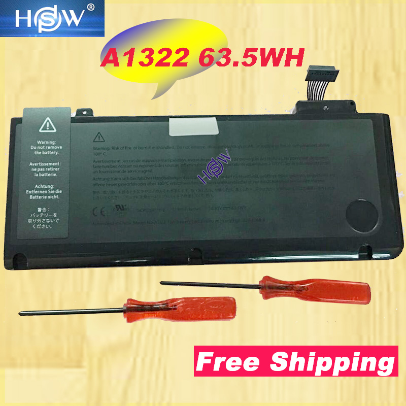 HSW 10.95V Laptop <font><b>Battery</b></font> A1322 For <font><b>MacBook</b></font> <font><b>Pro</b></font> <font><b>13</b></font> inch A1278 Mid 2010 2009 for 020-6765-A 3ICP5/69/71-2 image