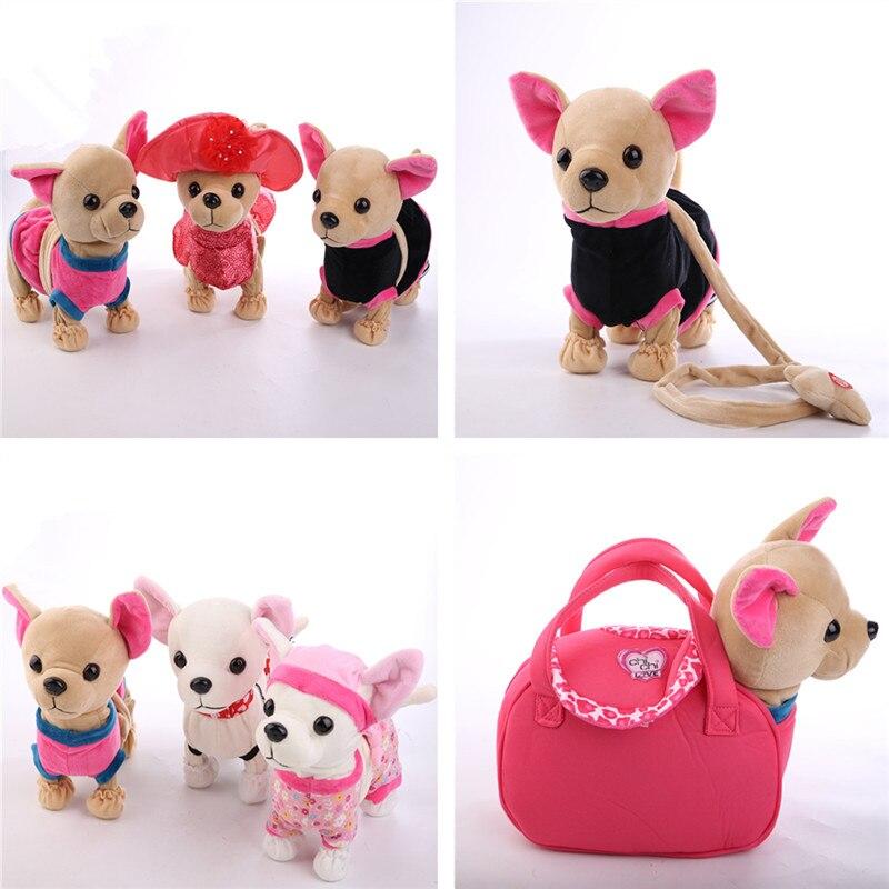 Electrónica, mascotas perro Robot Der Chi de amor cremallera canto caminar con bolsa interactivo juguete para niños de cumpleaños de los niños regalos