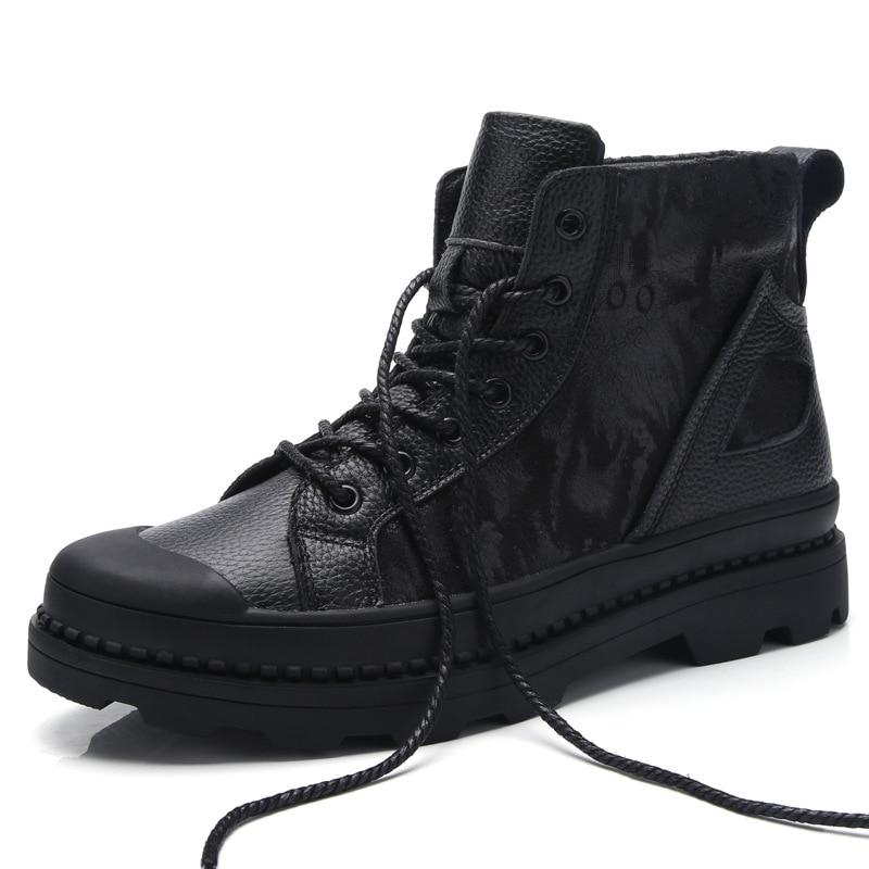 Home Logisch Stiefel Aus Echtem Leder Herren Schuhe Casual Outdoor Schwarze Stiefel Männer Herbst Winter H262 Guter Geschmack
