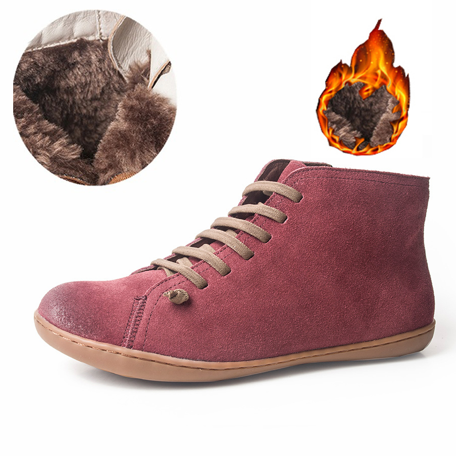 Women Winter Snow Boots Genuine leather Ankle Spring flat Shoes woman Short Brown Boots With Fur 2019 for women lace up bootsWomen Winter Snow Boots Genuine leather Ankle Spring flat Shoes woman Short Brown Boots With Fur 2019 for women lace up boots