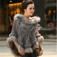 Women Knitted Wool Poncho Natural Raccoon Fur Hoody Trim Capes Female Spring Autumn Fur Shawls and Wraps Winter Outwear Coats