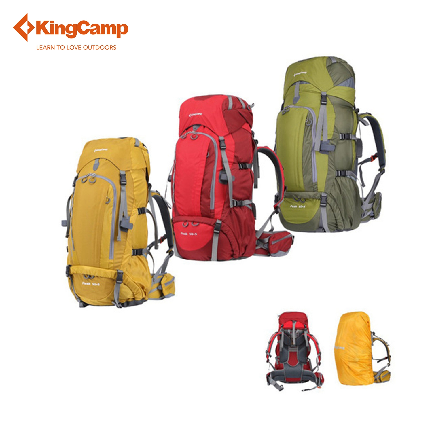 Kingcamp PEAK Climbing Backpack-50+5L Compact Internal Frame Adjustable Strap Belt Backpack for Hiking Camping Travel