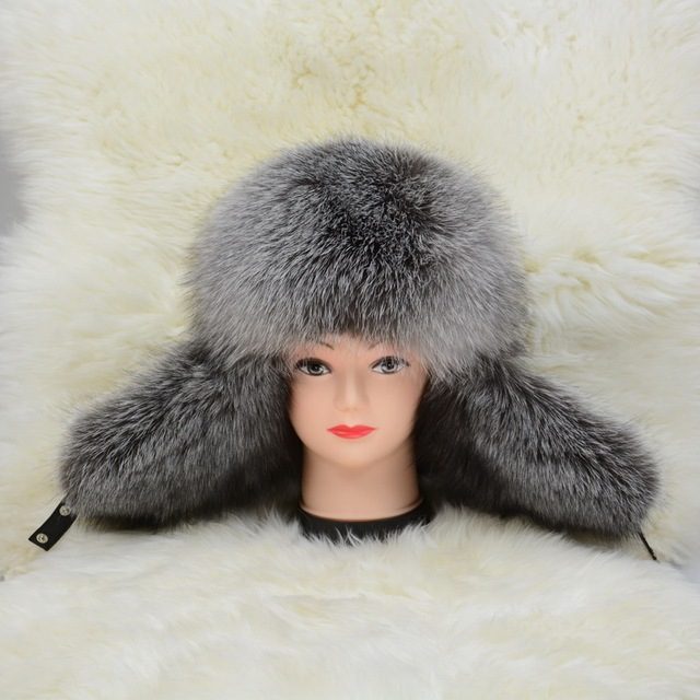 S1576 3 Colours Real fox fur and genuine leather Russia hat Women MEN winter warm cap Wholesale/ Retail