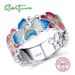 Image 2 - SANTUZZA gümüş yüzük kadınlar için 925 ayar gümüş moda çiçek yüzük kadınlar için kübik zirkonya Ringen parti takı emaye