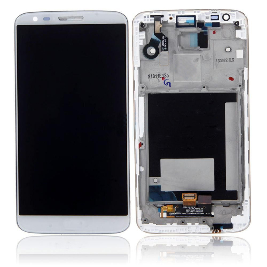 +Frame WHITE LCD Display + Touch Screen Digitizer Assembly Replacement For LG Optimus G2 D802 D805 Free Shipping