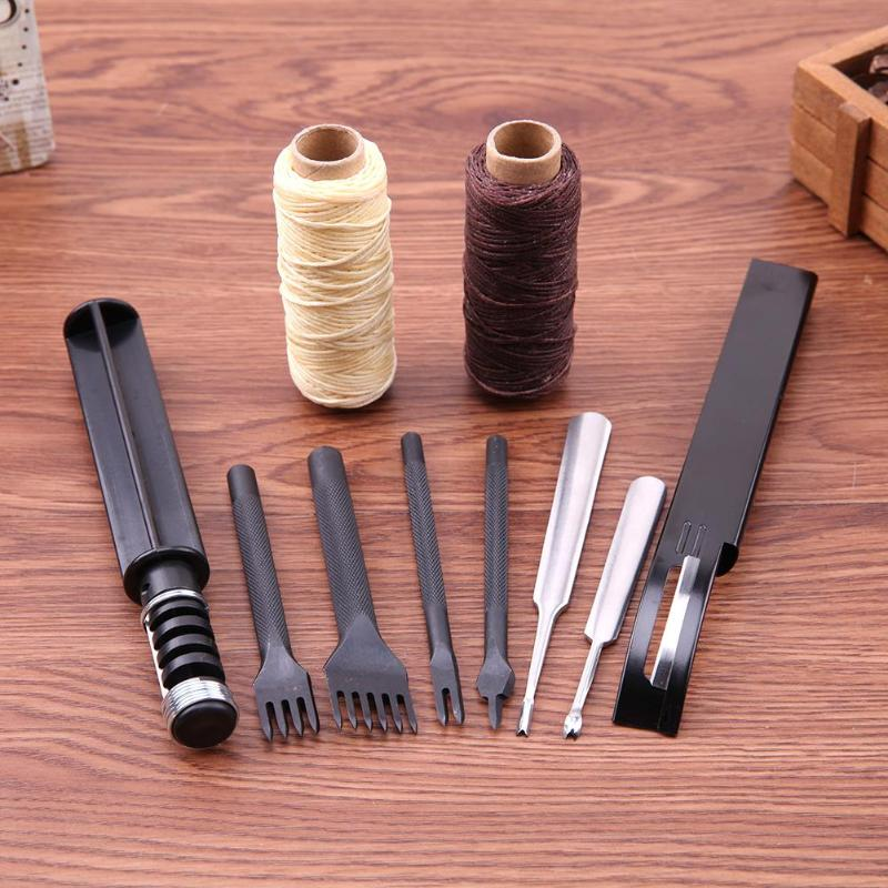 Professional 18 Pcs Leather Craft Tools Kit Hand Sewing Stitching Punch Carving Work Saddle Leathercraft Accessories